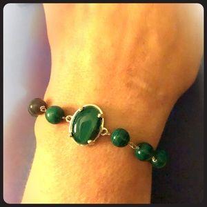Jewelry - 2/$35 Malachite Sterling Silver Bolo Bracelet